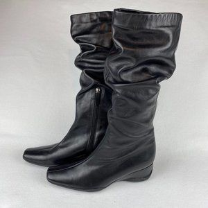Kennel Schmenger Black Boots Ruched Wedge 8